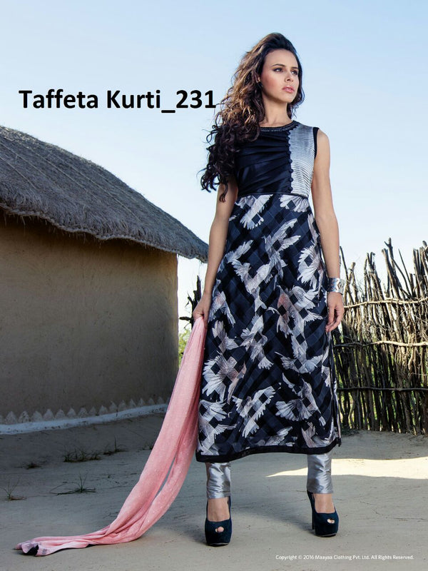 Taffeta Silk Digital Printed Kurti