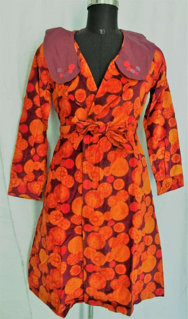 Orange Color Extra Long Velvet Jacket With Round Brown Collar