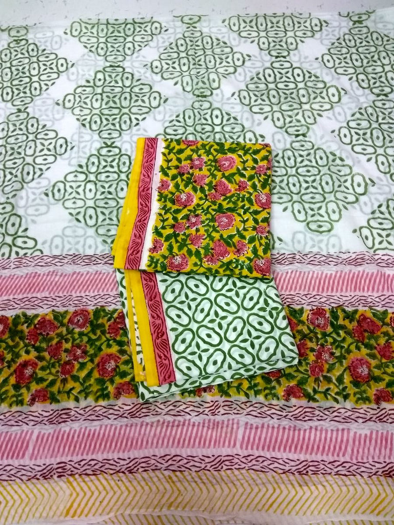 Cotton 60-60 Block Printed Unstitched Suit Set