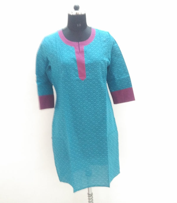 Turquoise Color Printed Cotton Straight Kurti