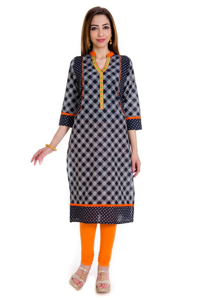Get a Pretty Look Our Black Printed Cotton Design Kurti