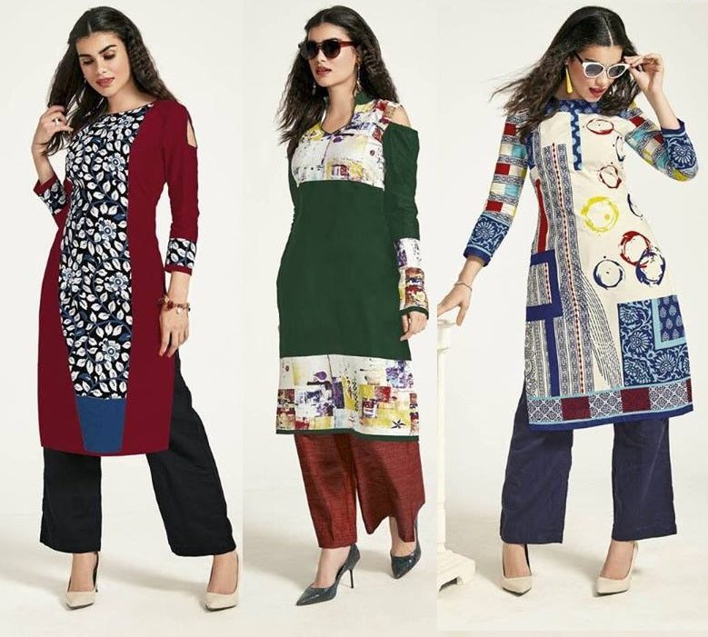 Cotton Unstitched Kurtis Combo