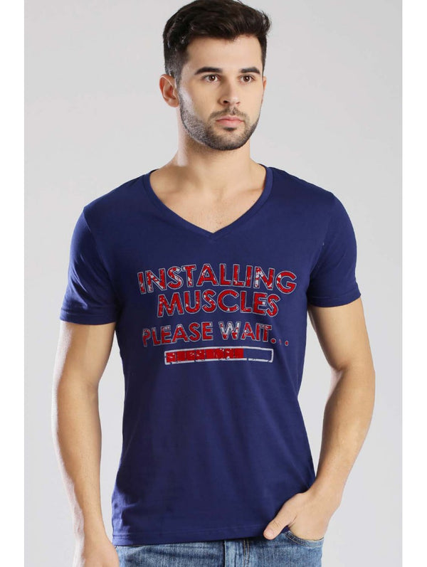 Half Sleeve V-Neck Men Classic Tees - Dark Blue