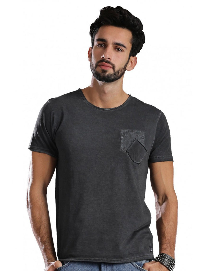 Half Sleeve Round Neck Men Casual Tees - Black