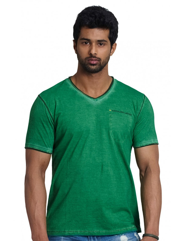 Half Sleeve V-Neck Men Casual Tees - Green