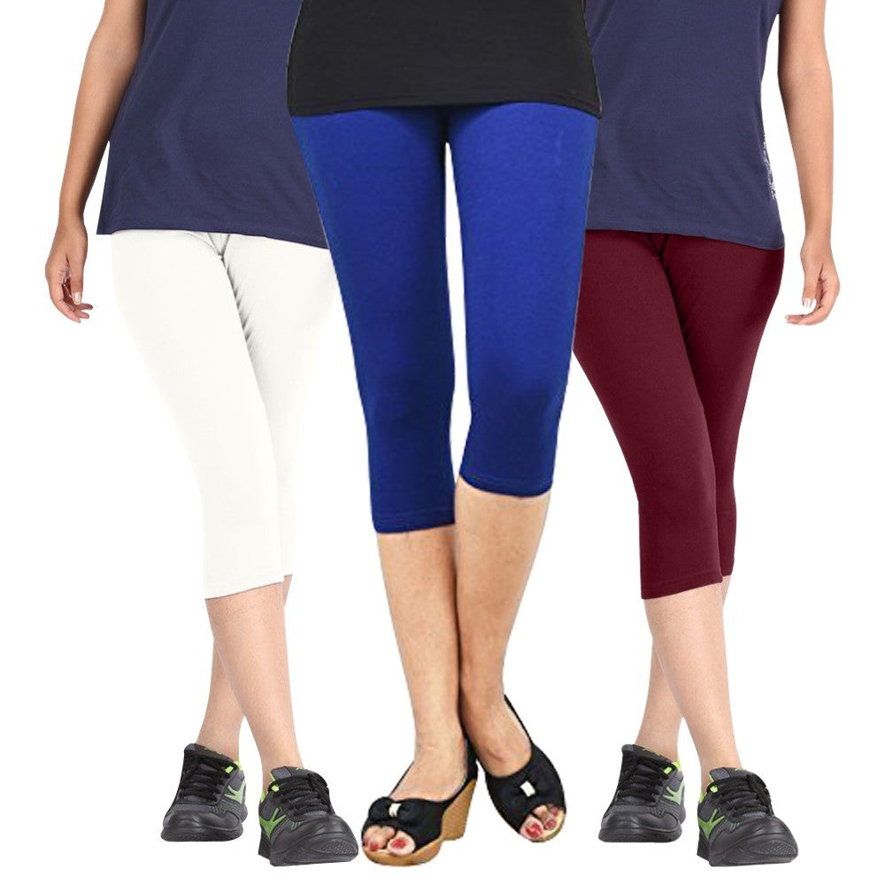 Pixie Women Super Fine Capri 190 GSM, Pack of 3 (White, Blue and Maroon) - Free Size