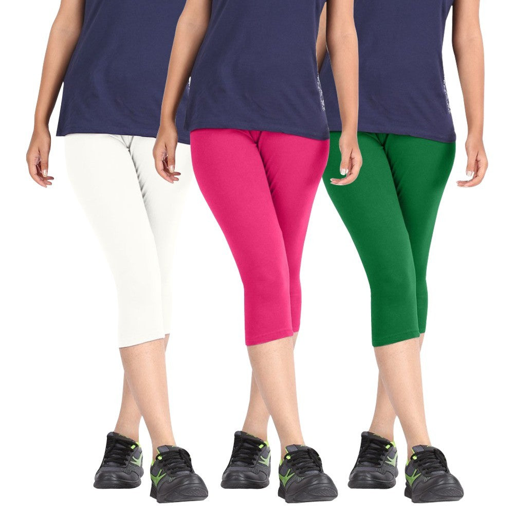 Pixie Women Super Fine Capri 190 GSM, Pack of 3 (White, Pink and Green) - Free Size