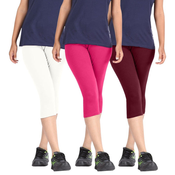 Pixie Women Super Fine Capri 190 GSM, Pack of 3 (White, Pink and Maroon) - Free Size