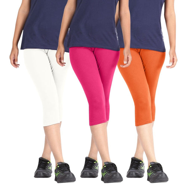 Pixie Women Super Fine Capri 190 GSM, Pack of 3 (White, Pink and Orange) - Free Size