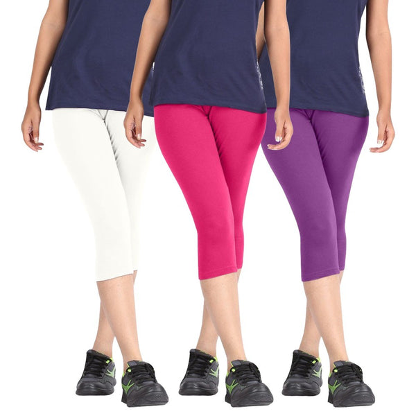Pixie Women Super Fine Capri 190 GSM, Pack of 3 (White, Pink and Purple) - Free Size