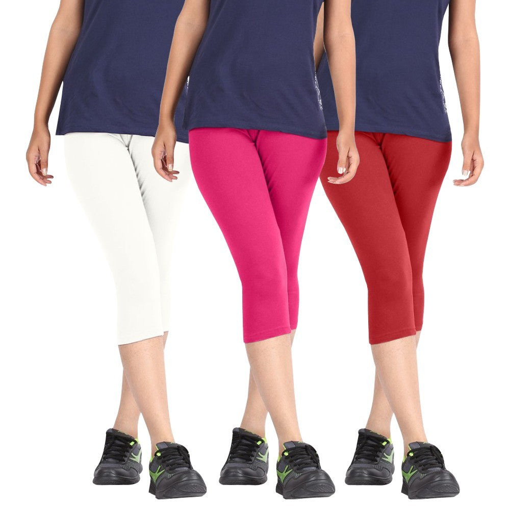 Pixie Women Super Fine Capri 190 GSM, Pack of 3 (White, Pink and Red) - Free Size