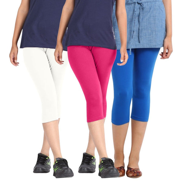 Pixie Women Super Fine Capri 190 GSM, Pack of 3 (White, Pink and Sky Blue) - Free Size
