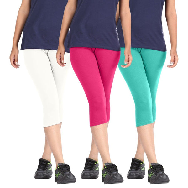 Pixie Women Super Fine Capri 190 GSM, Pack of 3 (White, Pink and Turquoise) - Free Size