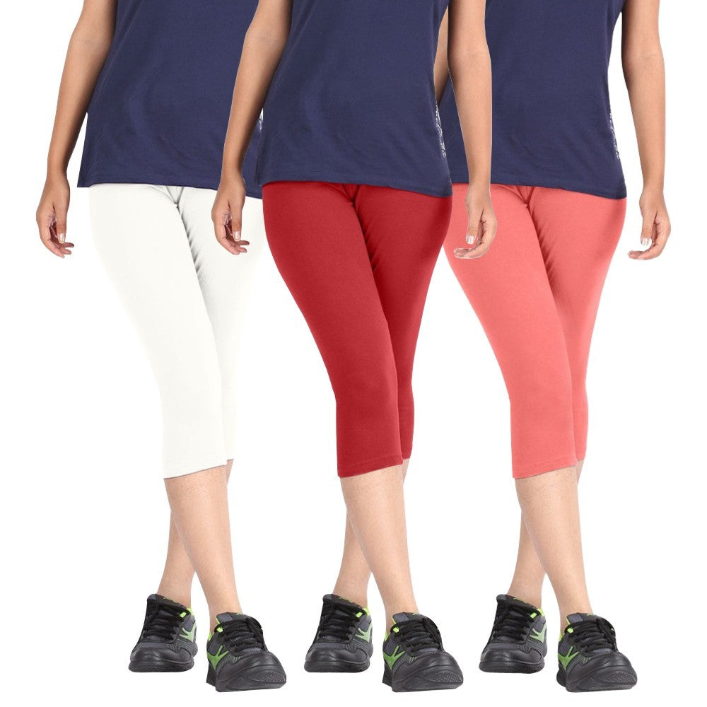 Pixie Women Super Fine Capri 190 GSM, Pack of 3 (White, Red and Baby Pink) - Free Size