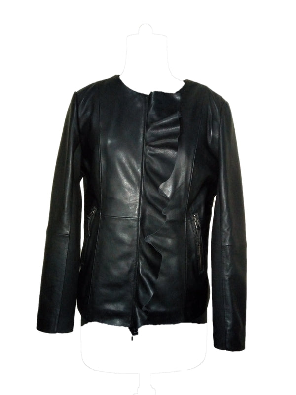 Women's Leather Jacket R 091H0 Black