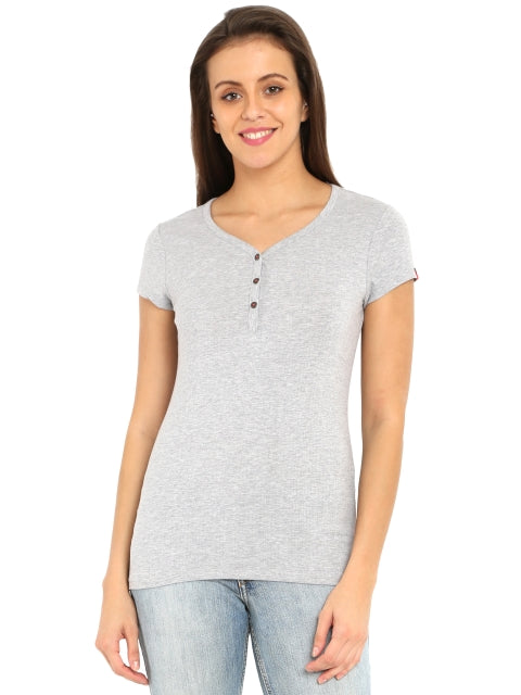Jockey Light Grey Melange Short Sleeve Slim Fit Henley