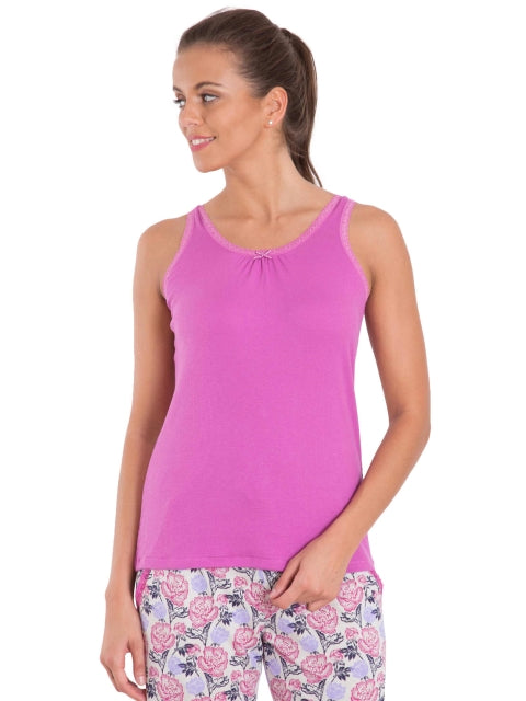 Jockey Lavendor Scent Lace Back Tank Top