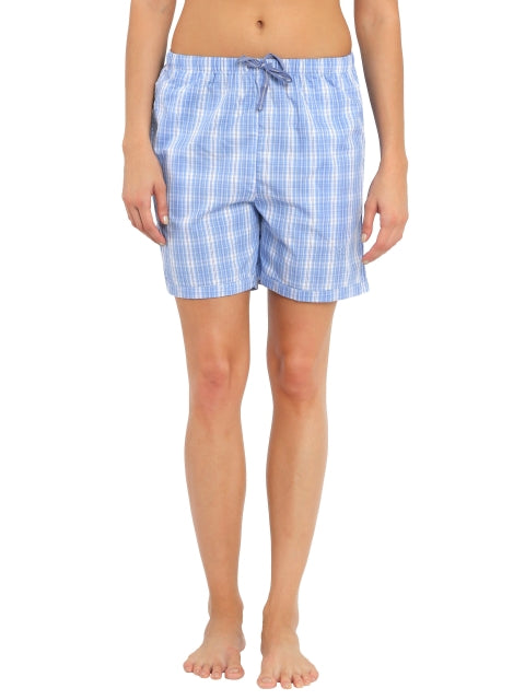 Jockey Iris Blue Check14 Woven Knee Length Shorts