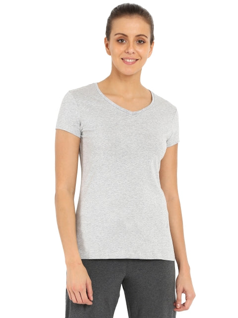 Jockey Light Grey Melange V-neck Tee
