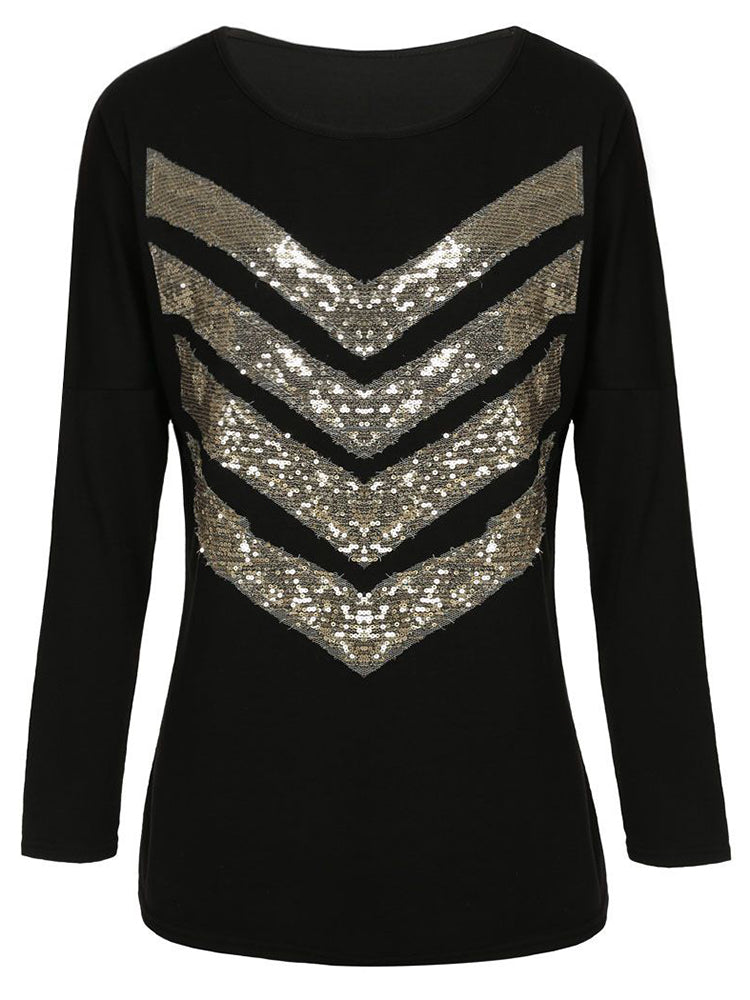 Loose Casual Women O Neck Long Sleeve Sequins Patchwork T-shirt