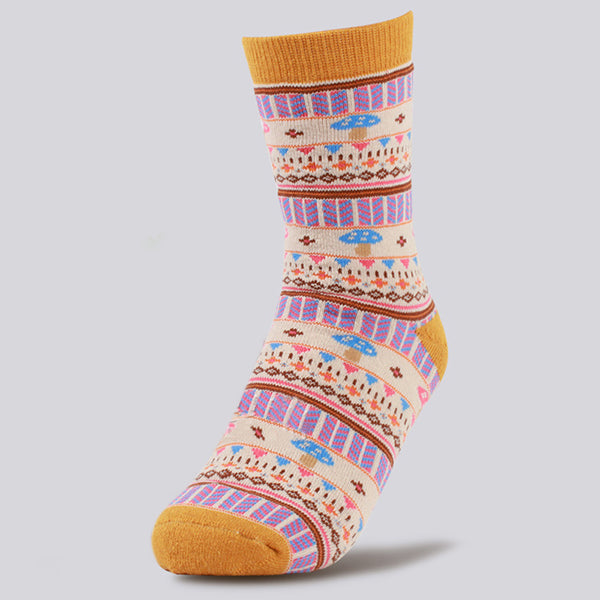 Womens Winter Warm Cotton Socks Cute Mushrooms Short Sock Stretchable Breathable Sock For Women