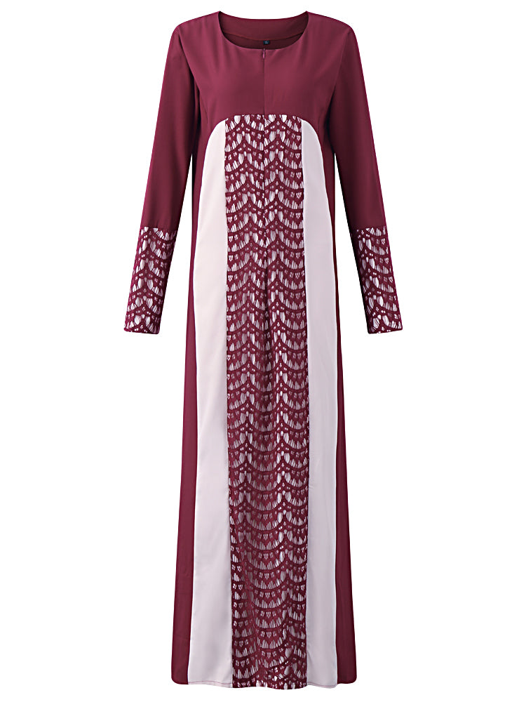 New Muslim Women Robe Lace Patchwork Long Sleeve Dresses