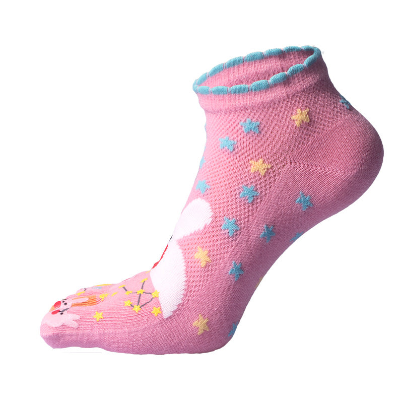 Women Cute Printing Ankle Socks Cotton Cartoon Five Toes Breathable Socks