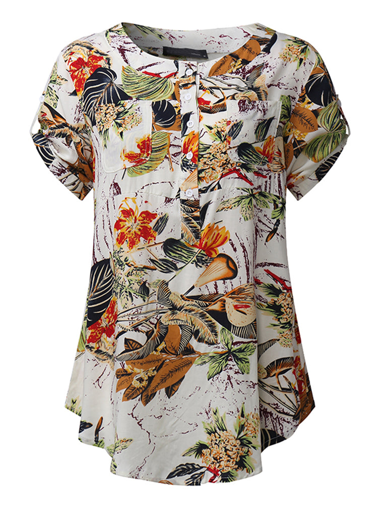 Casual Women Printed Patchwork Short Sleeve Rayon Blouses