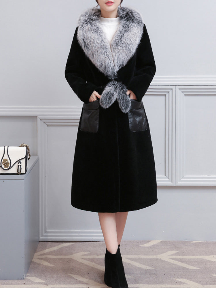 Elegant Women Faux Fur Collar PU Leather Patchwork Long Sleeve Winter Coat