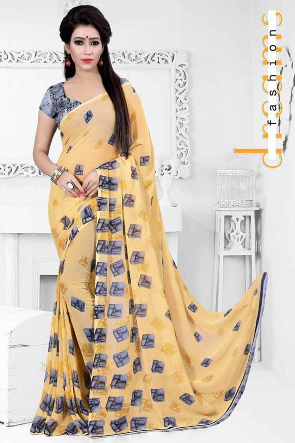 Akira Weightless Soft Material Pale Golden Color Saree