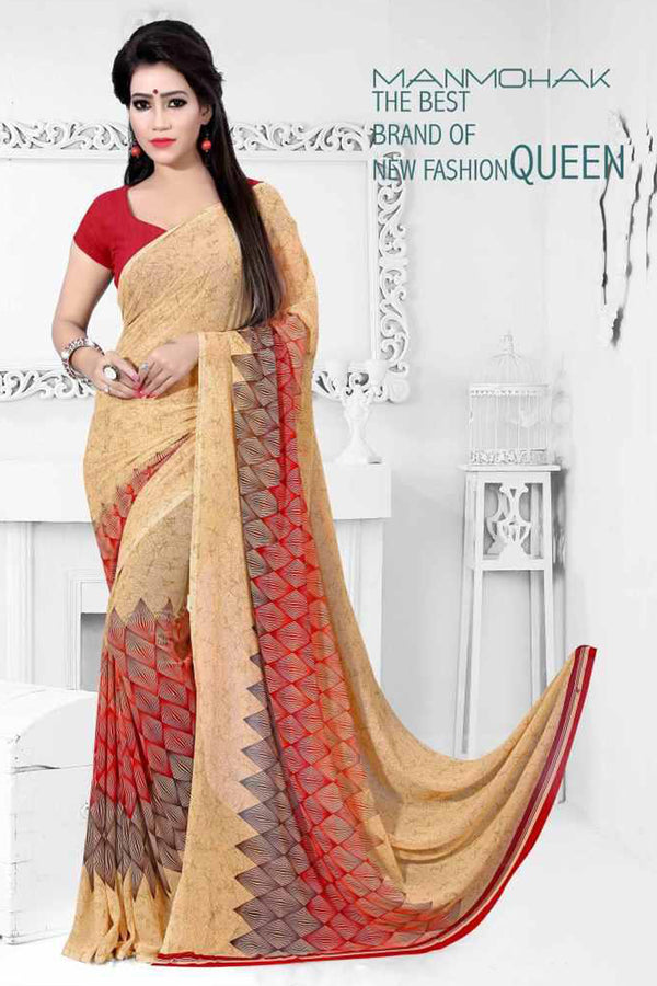Akira Weightless Soft Material Red, Pale Golden Color Saree