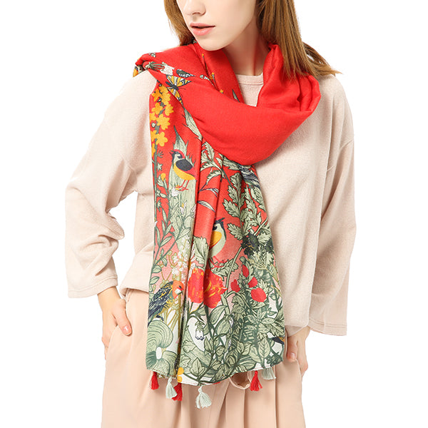 Women Scarf Chiffon Flower Birds Printing Shawls Travel Soft Long Scarves