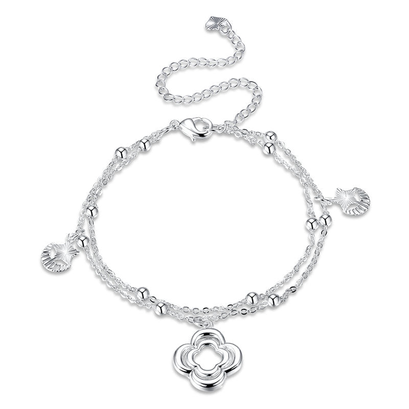 Flower Pendant Silver Plated Anklet Star and Moon Shaped Foot Chain