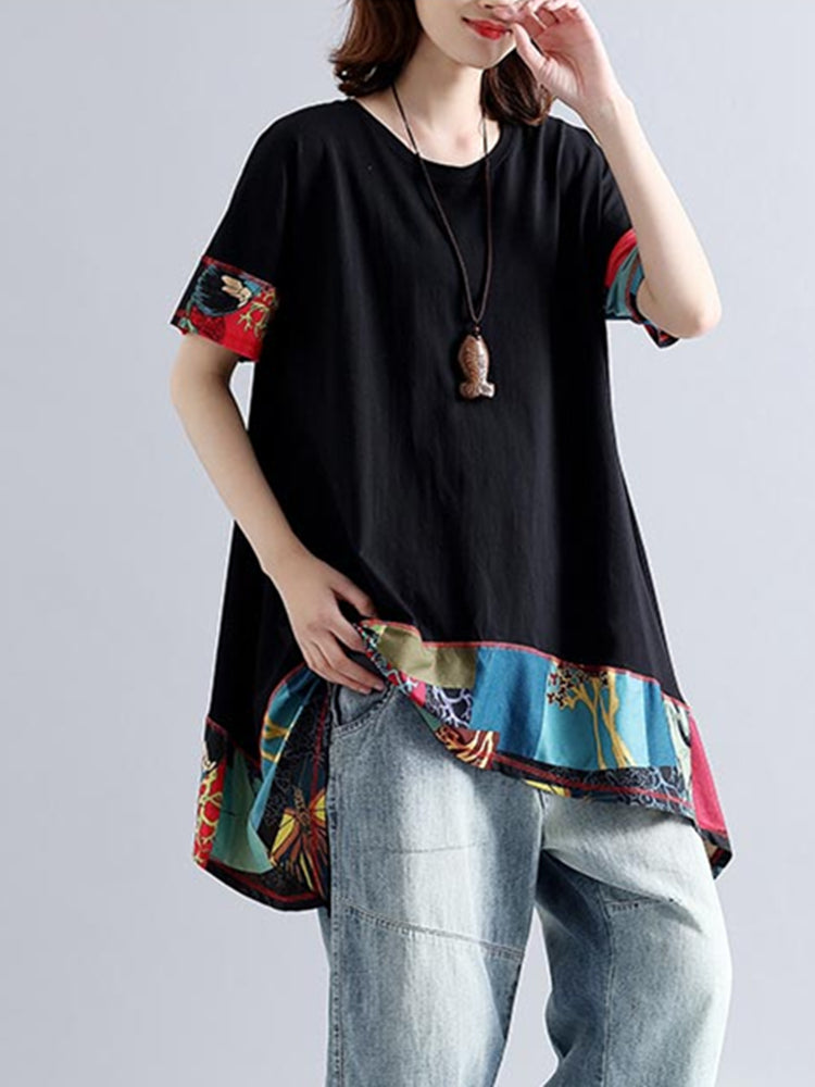 Casual Women Patchwork Loose O-neck Short Sleeve T-shirts