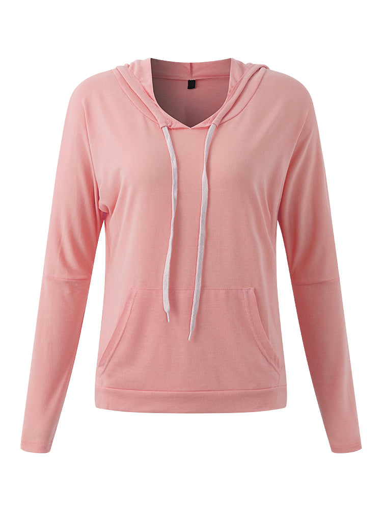 Casual Women Candy Color Long Sleeve Hooded T-Shirts