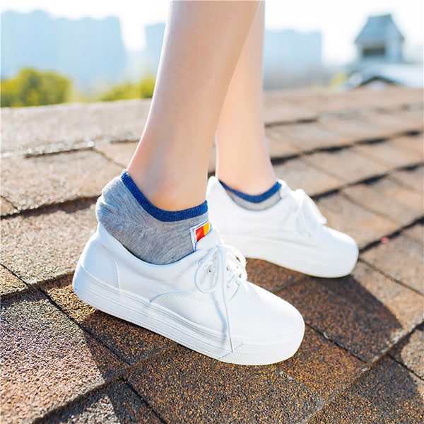 Women Cotton Multicolor Skid Resistance Socks Outdoor Sport Low Cut Invisible Boat Liner Sneaker Sli