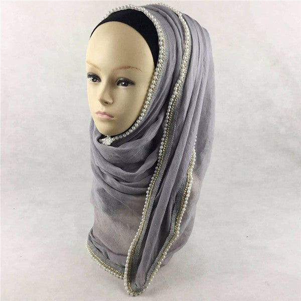 Women Ladies Pearl Floral Bead Hijab Scarf Shawl Muslim Islamic Kerchief Headpiece
