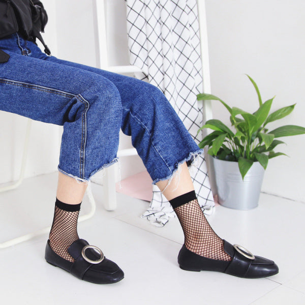 Women Girl Black Sexy Harajuku Fish Net Socks Mesh Hollow Thin Breathable Ankle Sock