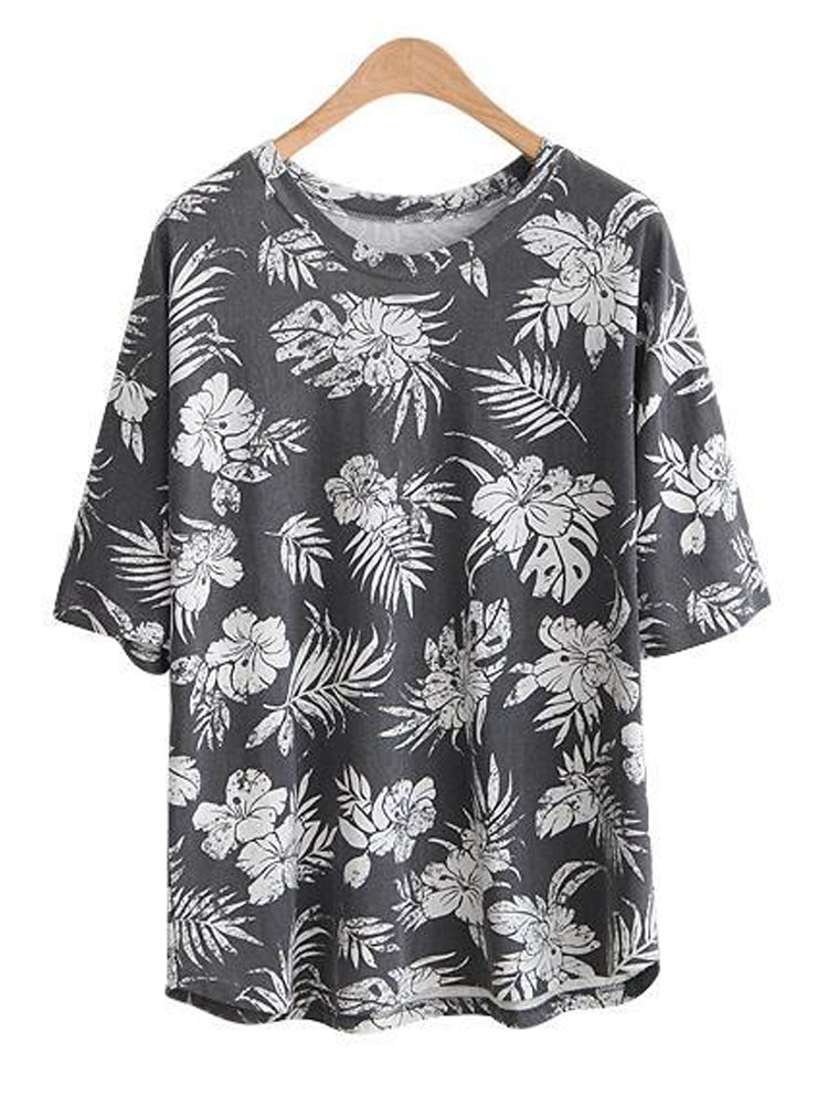 Casual Loose Women Printed Half Sleeve O-Neck T-shirt