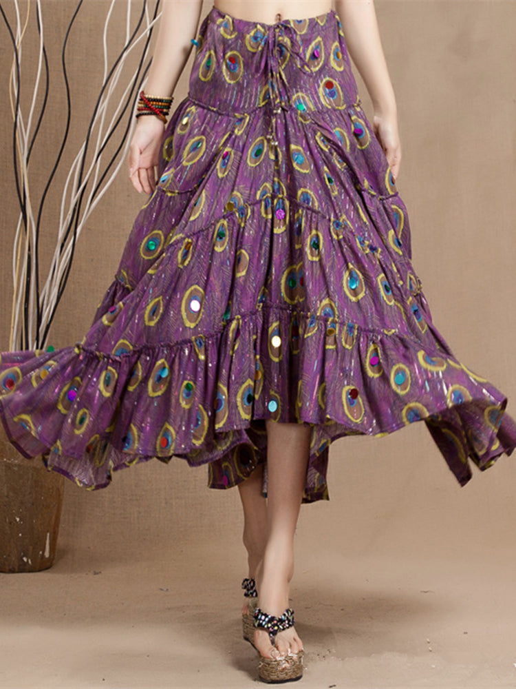 Bohemian Peacock Feather Printed Swing Skirt For Women