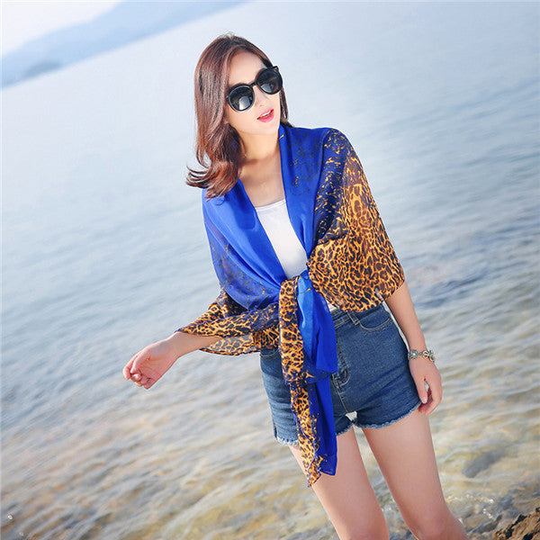 Women Summer Leopard Blue Beach Towel Sunscreen Chiffon Scarves Shawls