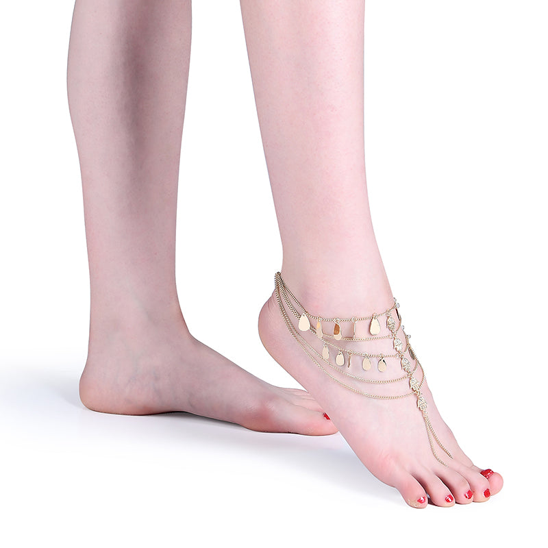 Retro Gold Plated Coin Tassel Barefoot Anklet Gift for Women