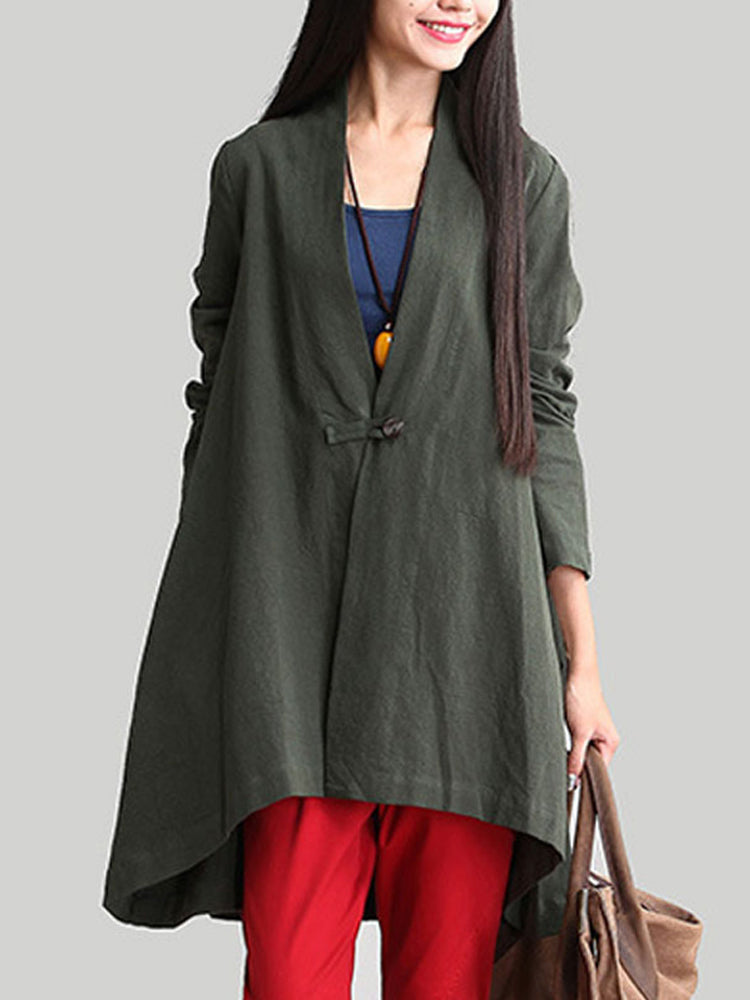 Women Long Sleeve Solid Loose Casual Asymmetric Hem Coat