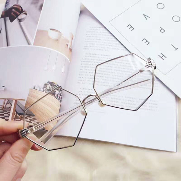 Fashion Women Gold Silver Polygon Eyeglasses Vintage Pearl Nose Support Clear Lens Glasses
