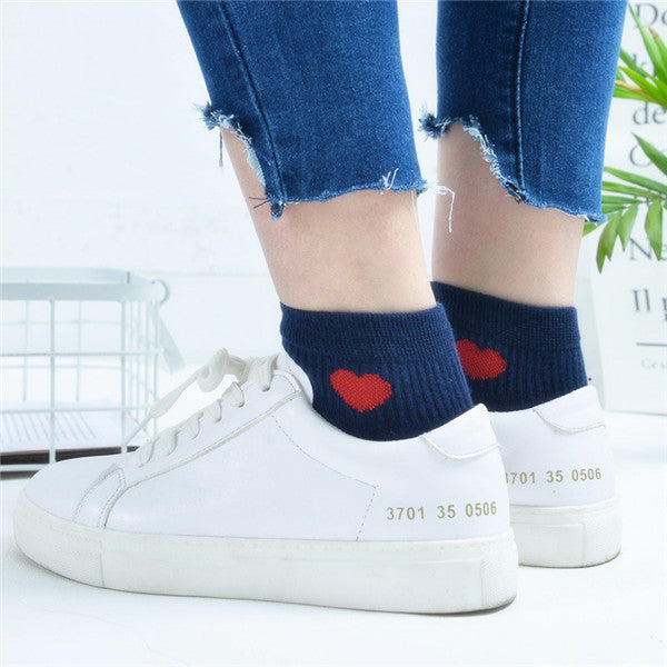 Girls Women Cotton Love Heart Socks Casual College Style Soft Ankle Low Boat Socks