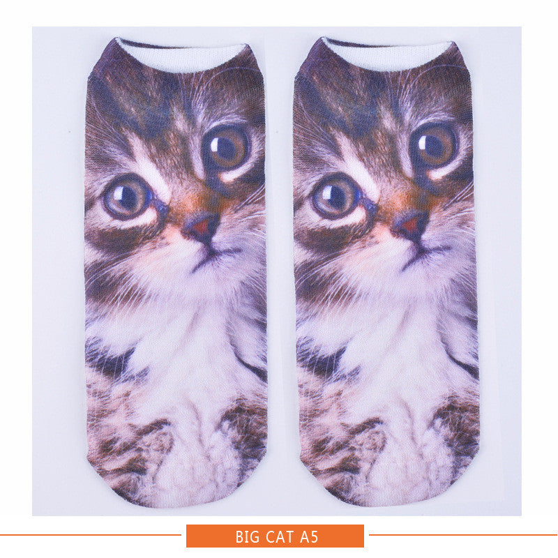 Women Ladies 3D Printed Animal Pattern Socks Cute Cat Low Cut Ankle Hosiery