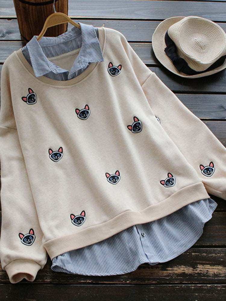 Casual Cat Embroidery Fake Two Pieces Blouse
