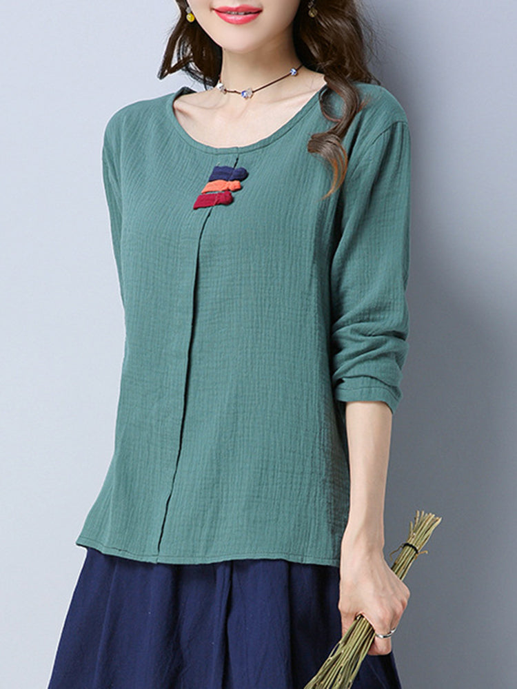 M-3XL Casual Solid Color Frog Button Women Blouses