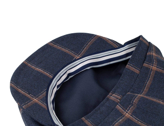 Navy Brown Windowpane
