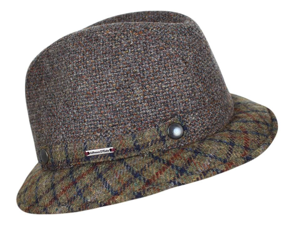 Taupe Tweed with Plaid Brim